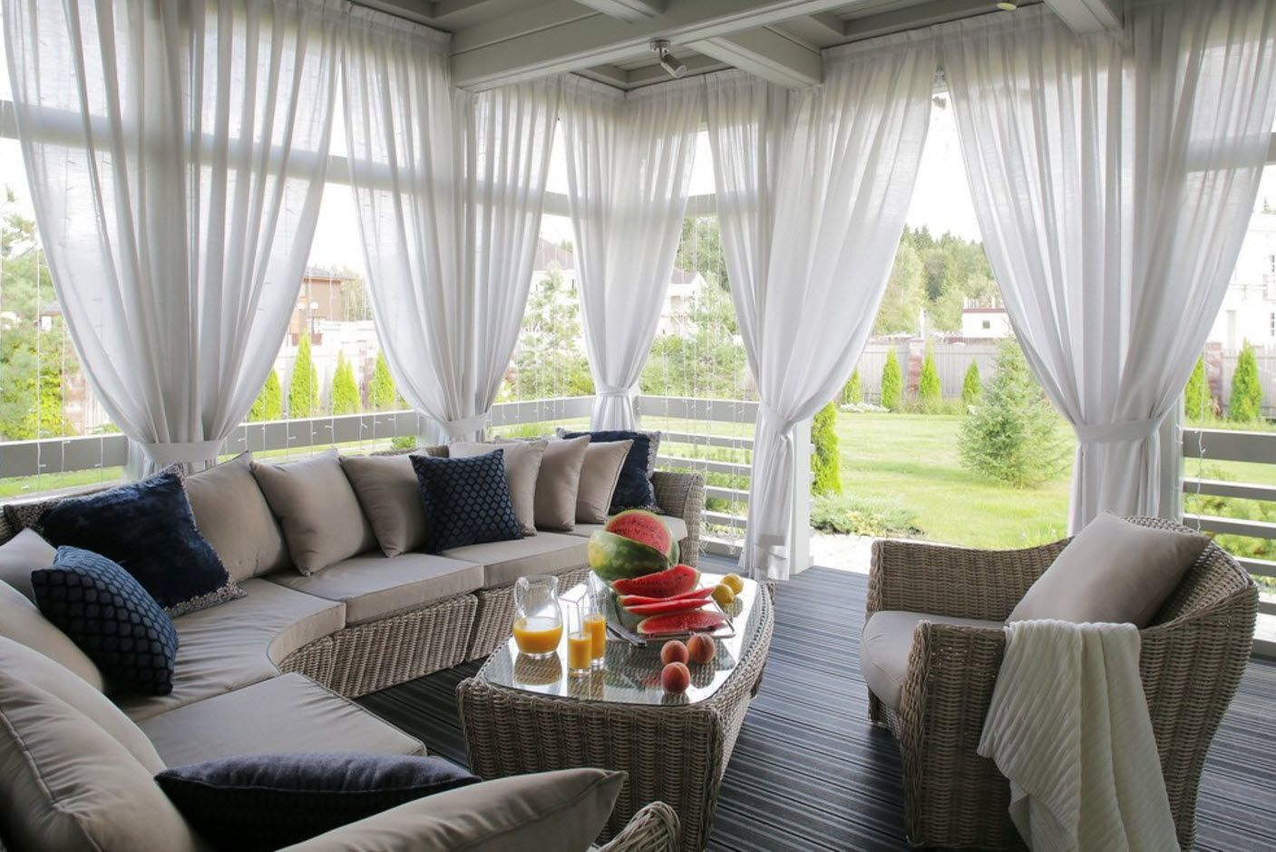 Country House Porch Decoration & Design Ideas. Cozy backyard patio with tulle curtains