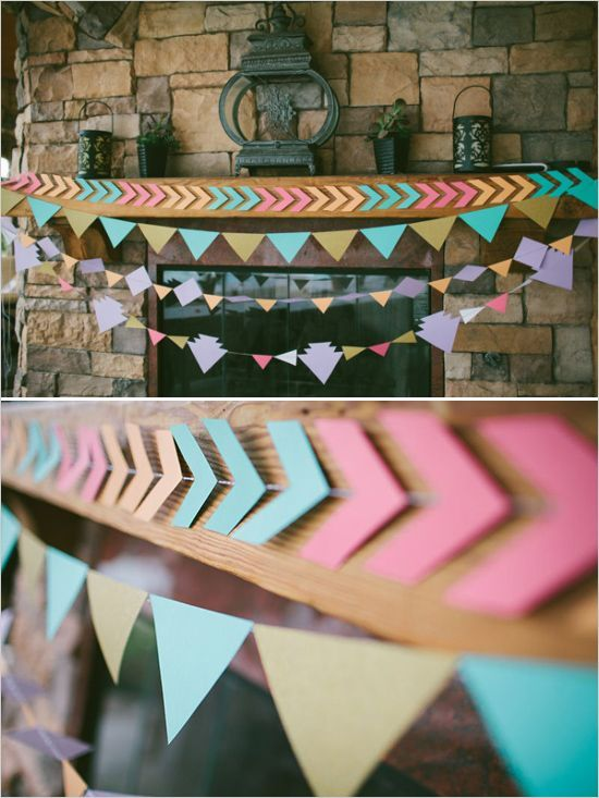 DIY Interior Decorating Garlands. Original and Budget Saving. Colorful paper strippes on the thread