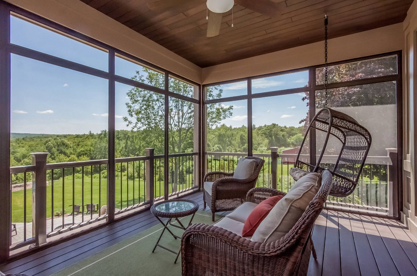 Country House Porch Decoration & Design Ideas. Patio at the high platforn with handrails