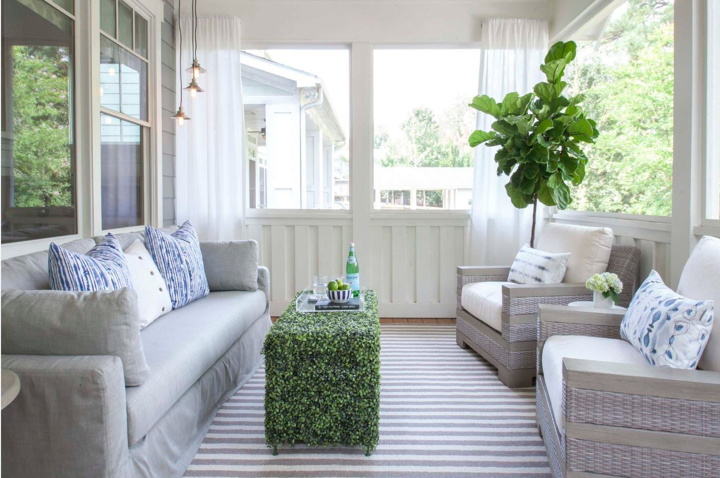 Country House Porch Decoration & Design Ideas. Unique construction of the coffee table in the form of plant cube