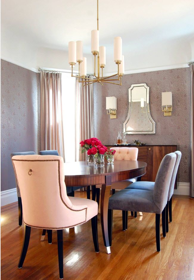 Creamy pastel tones for modern dining room interior