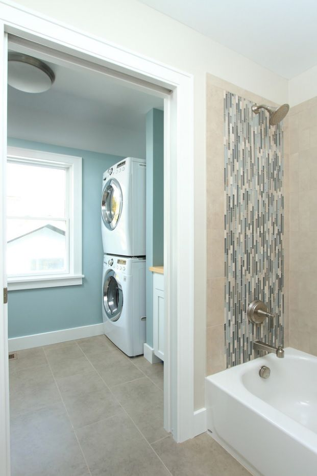 Laundry & Bathroom Combining Ideas with Photos. Zoning the space to find an extra for washing and drying machines