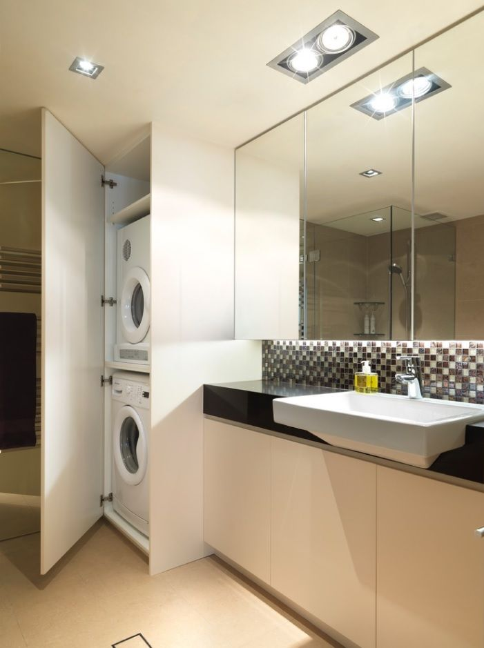 Laundry & Bathroom Combining Ideas with Photos. Cabinet for appliances in the large space with mirror and airy vanity