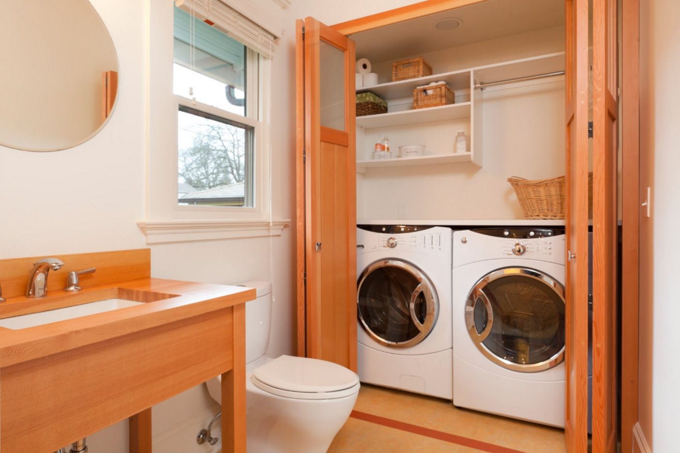 Laundry & Bathroom Combining Ideas with Photos. Closing sliding doors to protect the appliances from water and steam