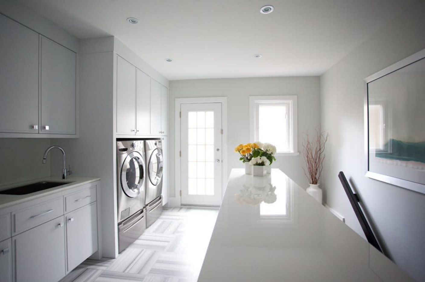 Laundry Allocation Options for Modern Home Interior. Second floor zone near the stairs