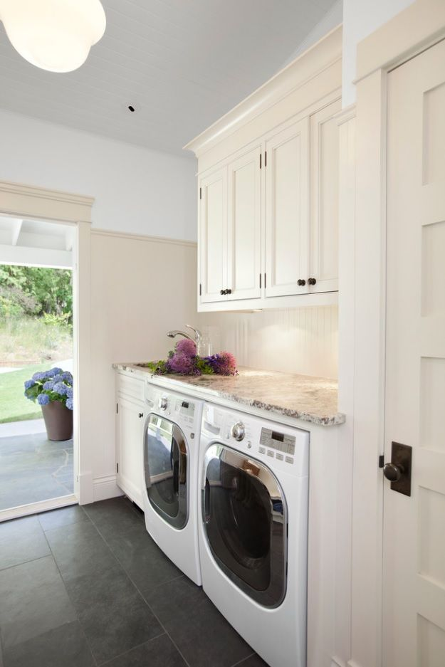 Laundry Allocation Options for Modern Home Interior. Modern private house room with exit to the backyard