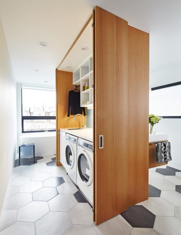 Laundry & Bathroom Combining Ideas with Photos. Dedicated zone for cleaning appliances