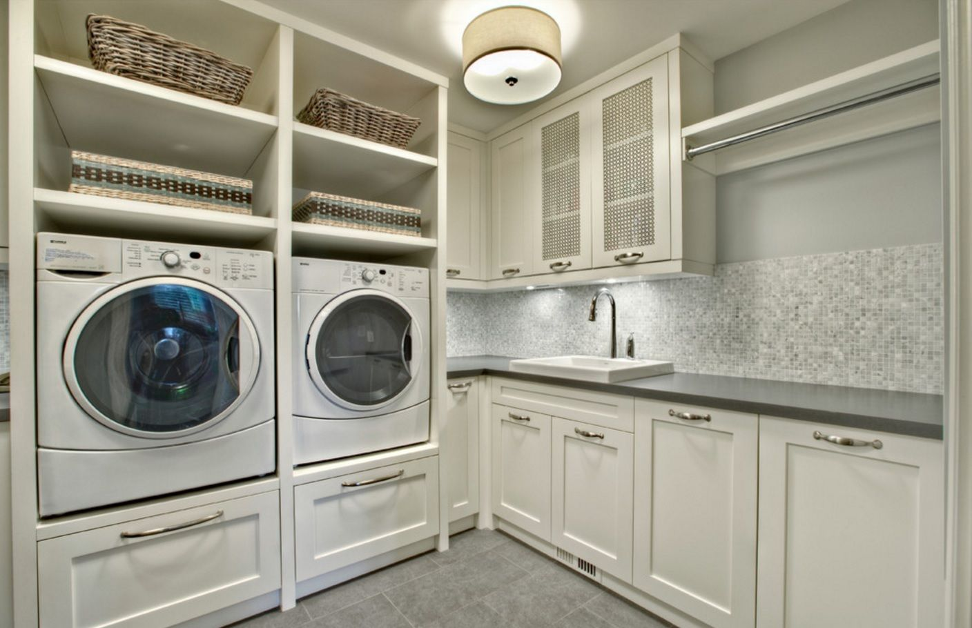 Laundry Allocation Options for Modern Home Interior. Classic styled room with ultramodern machines looks organic