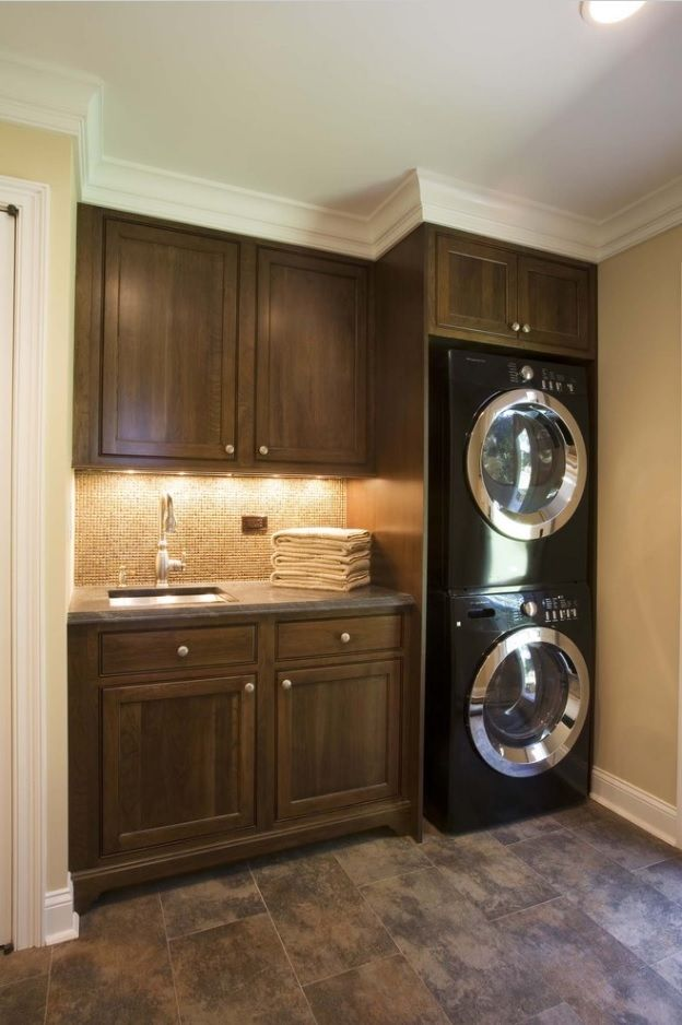 Laundry Allocation Options for Modern Home Interior. Hi-tech appliances take small space in classic styled area