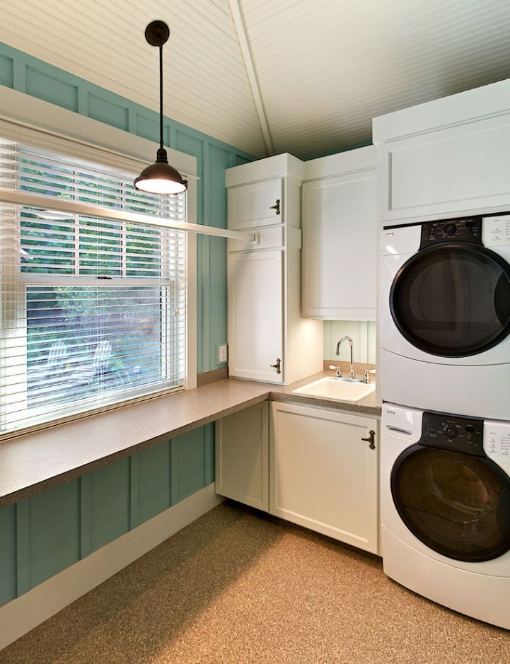 Laundry Allocation Options for Modern Home Interior. Technical premises for the cleaning the clothes