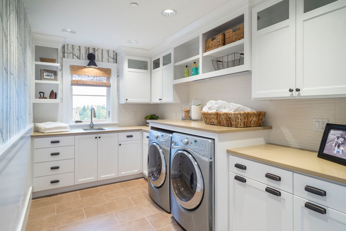 Laundry Allocation Options for Modern Home Interior. Large kitchen with the cleaning zone