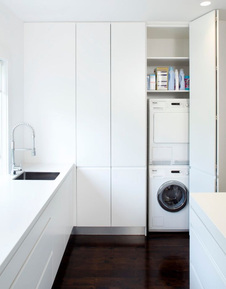 Laundry Allocation Options for Modern Home Interior. Scandinavian style in white minimalism is the ideal for cleaning room