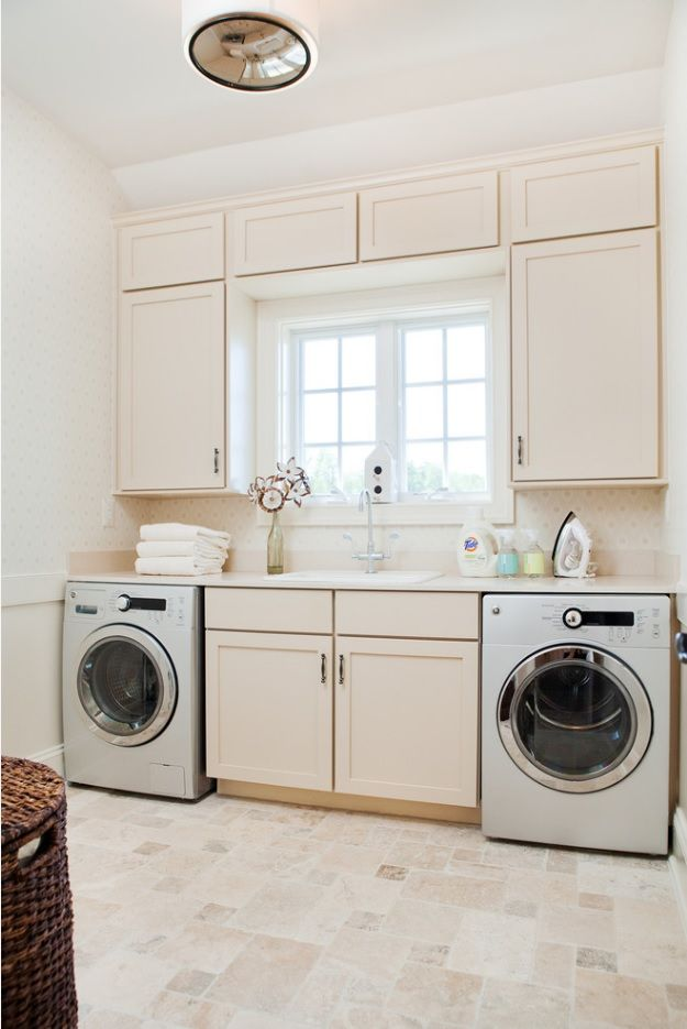 Laundry Allocation Options for Modern Home Interior. Rustic styled room for cleaning appliances