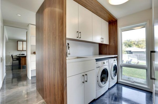 Laundry Allocation Options for Modern Home Interior. Special zoning among the other spaces and rooms for cleansing appliances