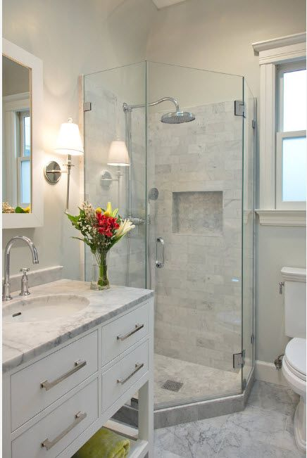 Modern Bathroom Interior Shower Cabin Design. Marble finished area