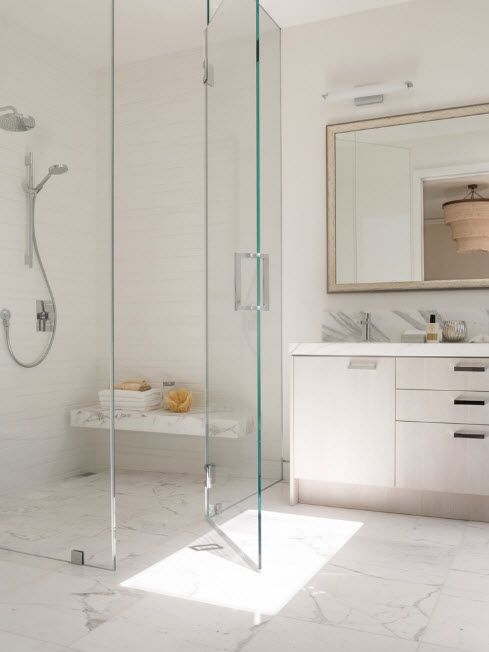 Modern Bathroom Interior Shower Cabin Design. Total whiteness and large mirror