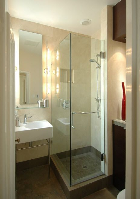 Modern Bathroom Interior Shower Cabin Design. Pastel coolor theme and the backlight