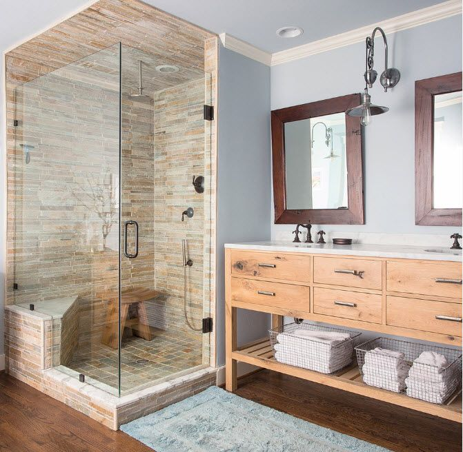 Modern Bathroom Interior Shower Cabin Design. Large space for a family with wooden vanities and wooden frames of the mirrors