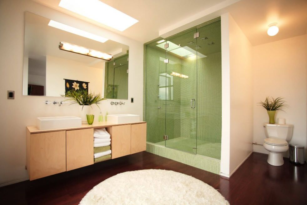 Large mirror in the bathroom and the dedicated area for the matted glass separated shower area