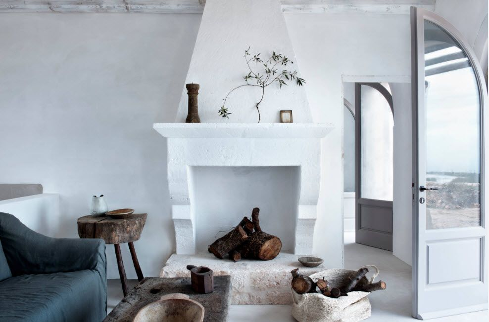 White matted Classicism in the living room with wooden furniture