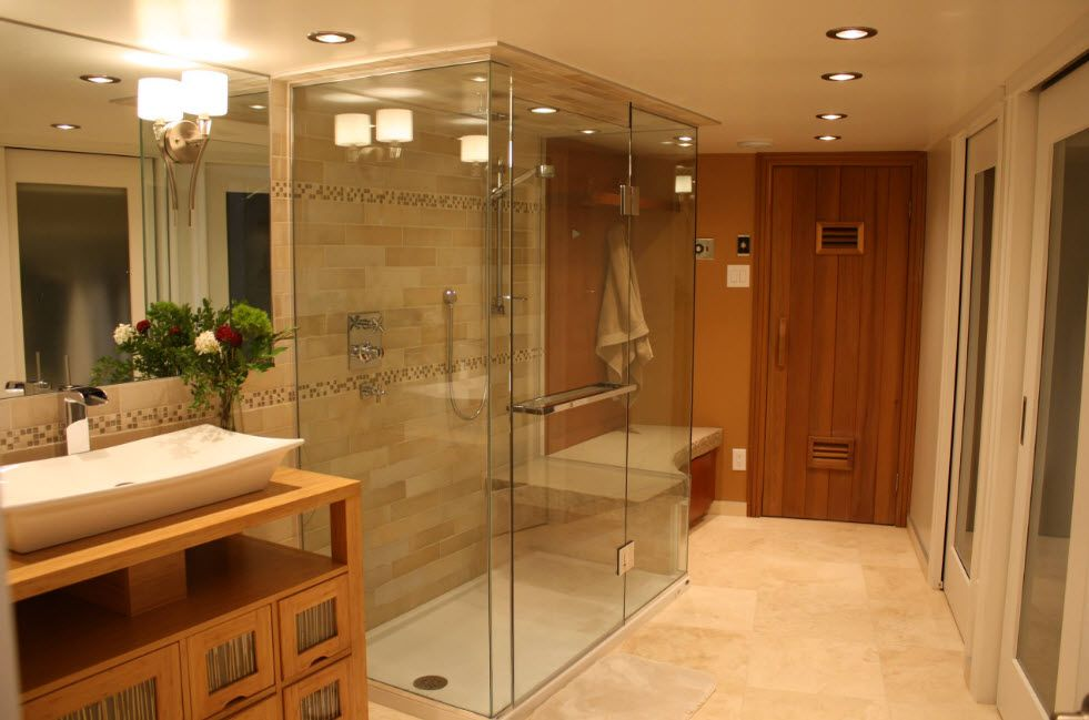 Modern Bathroom Interior Shower Cabin Design. Noble wooden materials in the steam room