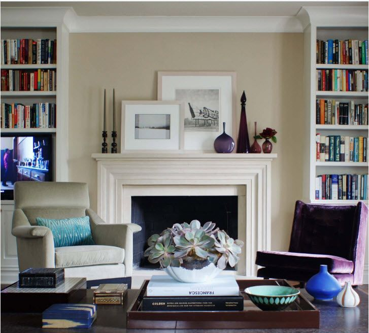 Classic living with books at the mantelshelf