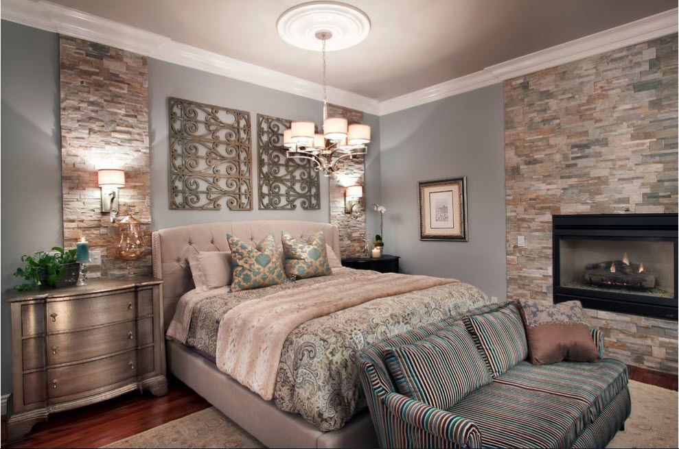 Classic interior of the bedroom with the olive tint