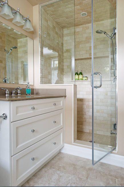 Modern Bathroom Interior Shower Cabin Design. Tiling of the steam zone