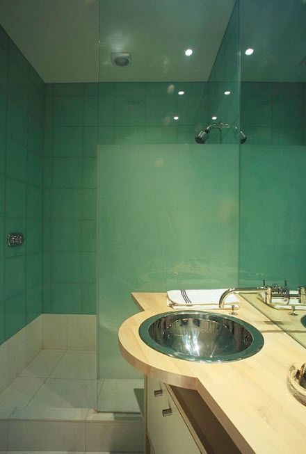 Futuristic and undescribible turquoise bathroom interior