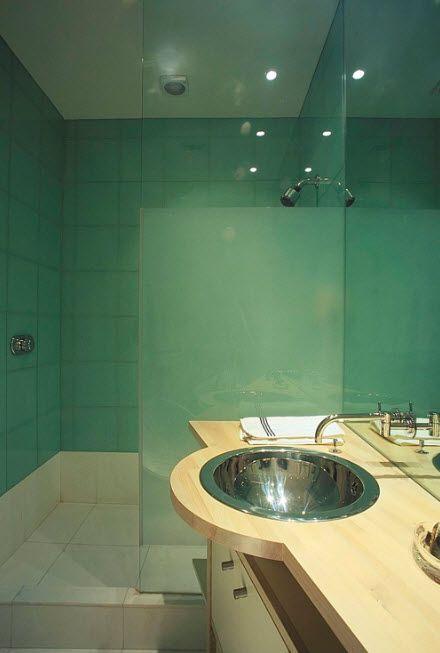 Futuristic and undescribible turquoise bathroom interior