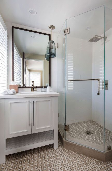 Modern Bathroom Interior Shower Cabin Design. Classic style and natural materials in white