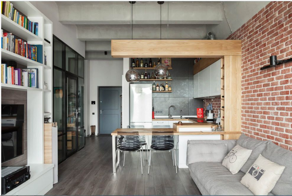 Gray wall finishing and wooden materials