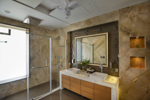 Glass Bathroom Screen. Types, Design, Interior Application. Moble marble trimming