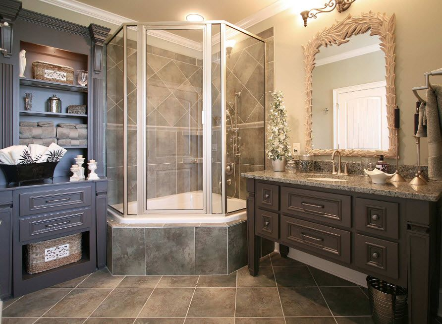 Bay window design of the glass shower cabin with marbled pedestal