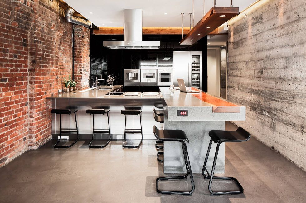 Loft Styled Kitchen. Industrial Motiffs for Comfortable Life. Concrete floor and wooden panels on the wall
