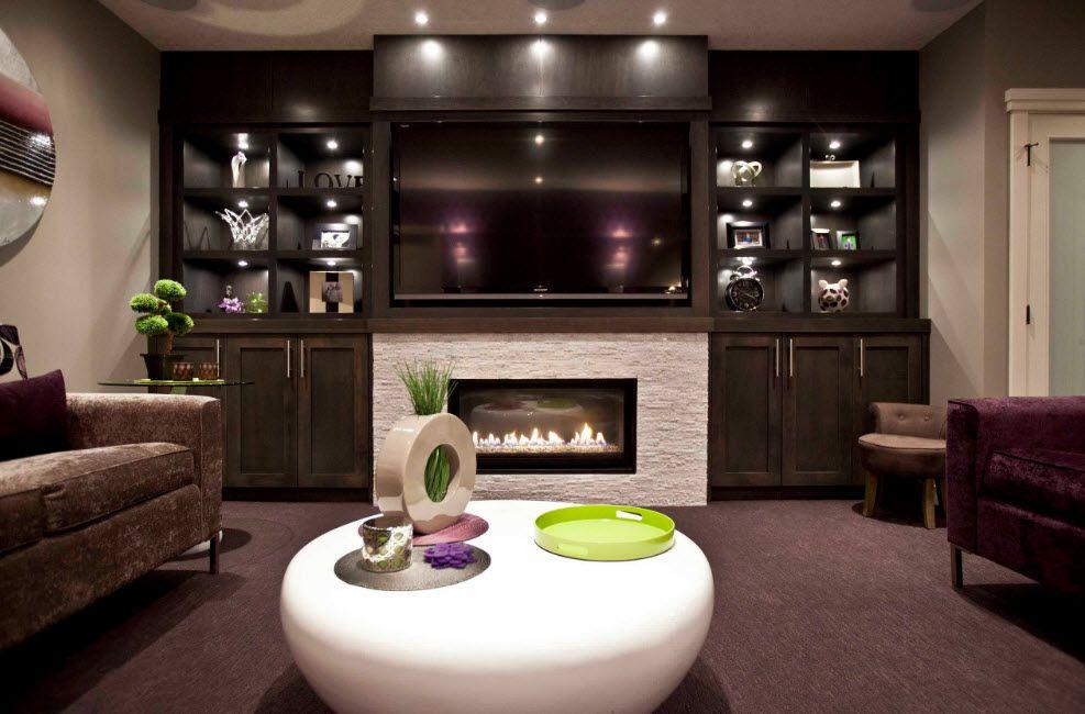 Futuristic interior design with accentual white fireplace
