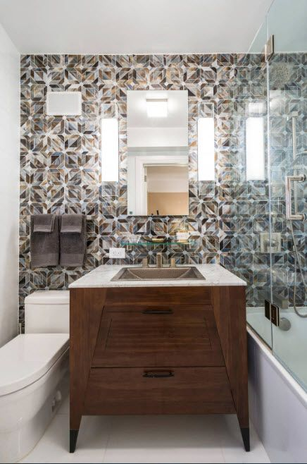 Ceramic tile imitatinf mosaic and wooden trimmed bathtub