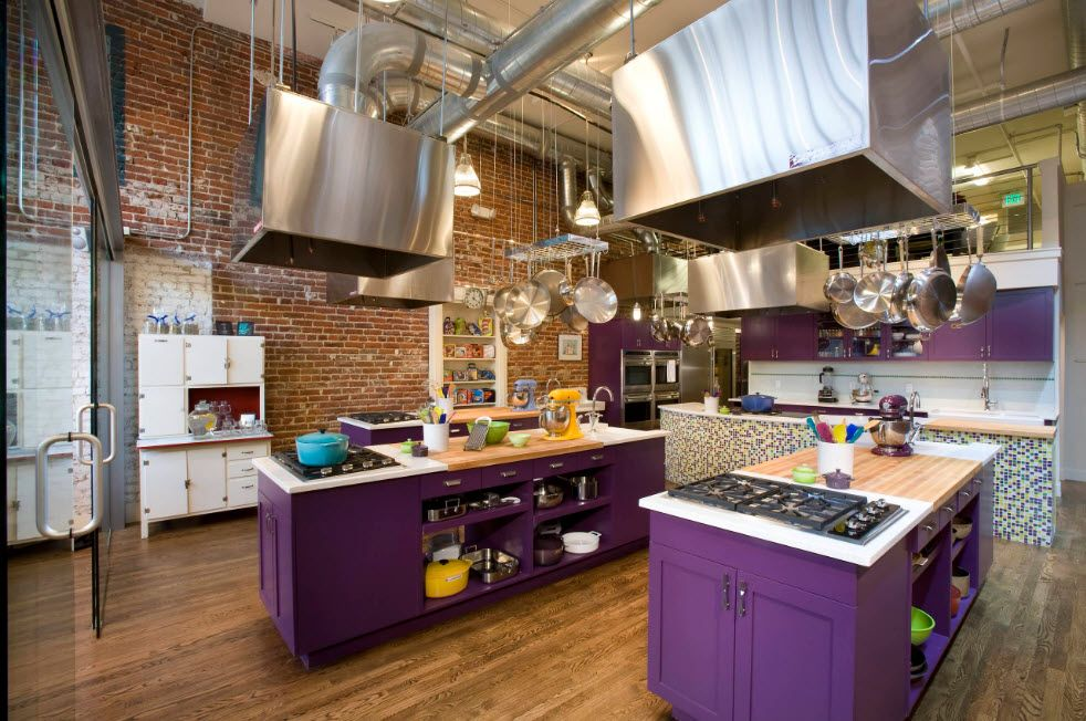 Unusual and dare purple color scheme for the kitchen furniture facades