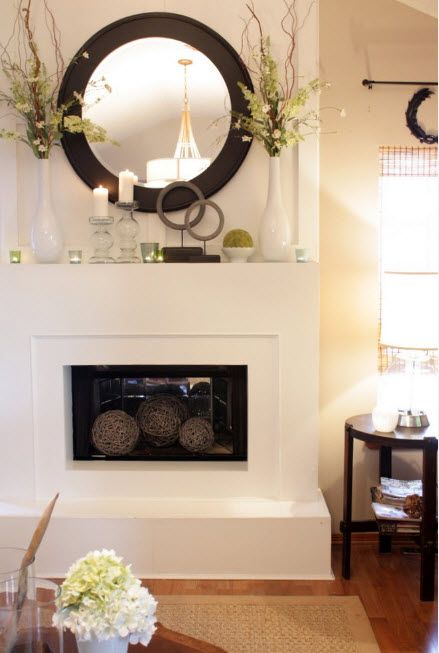 Milky color theme for the modern interior design with large fireplace