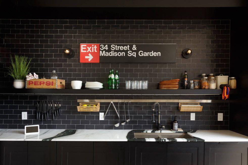 Metro tile with subway kitchen stylization of the splashback