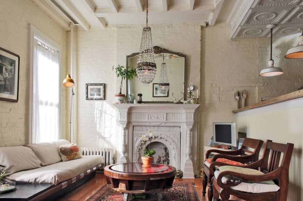 Stucco molding for classic styled fireplace with hanging pots for plants