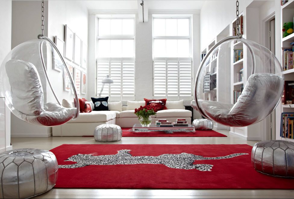 Red rug in the ideally white space
