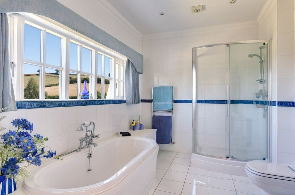 Modern Bathroom Interior Shower Cabin Design. Totally white space with blue border
