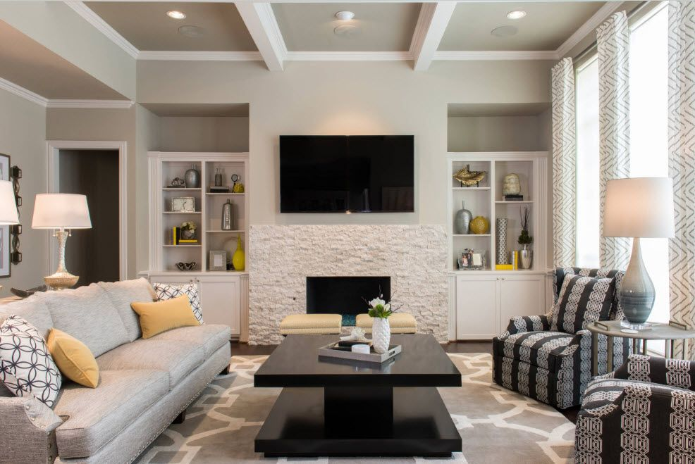 Artificial Fireplace as Part of Comfortable Life. Open ceiling beams and etxtured stone wall finishing