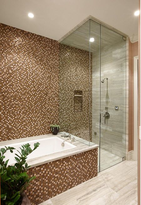 Gray and light mosaic with glass shower and bathtub