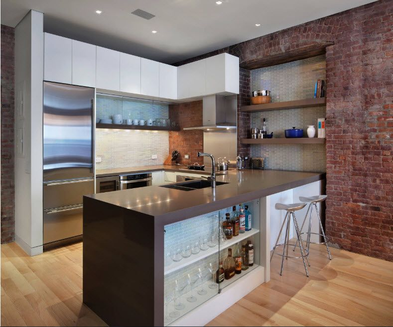 Modern and loft intermixing of styled in wisely lighted kitchen