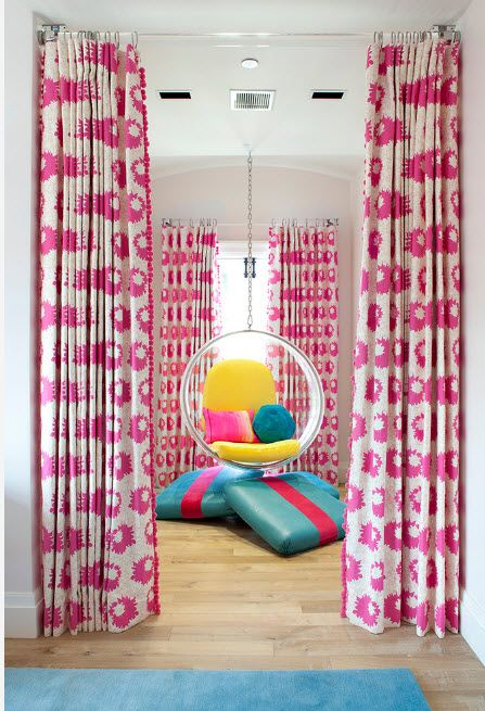Suspended Bubble Chair. Modern Interior Ideas. Unusual styled children's room with perky curtains