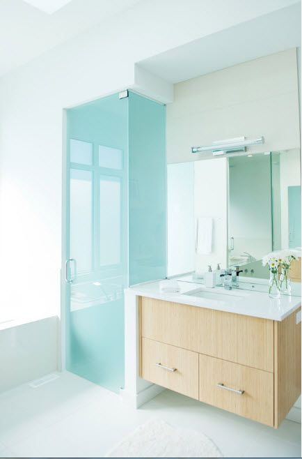 Modern Bathroom Interior Shower Cabin Design. Gorgeous frosted glass and the light-wooden vanity