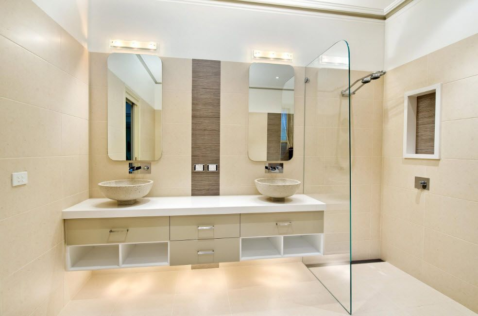Unique hovering vanity with LED backlighting in the modern bathroom for two