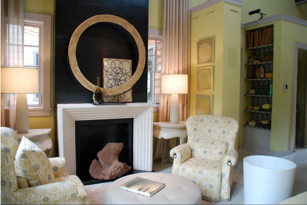 Artificial Fireplace as Part of Comfortable Life. Eclectic and vintage mix of styles with black accent wall